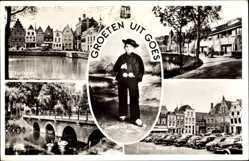 Ak Goes Zeeland Niederlande, Markt. Oostsingel, Turfkade, Bevelands Boertje
