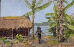 Künstler Ak Müller, Peter Paul, Papua Neuguinea, Kolonie, Eingeborener