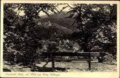 Postcard Landstuhl im Kreis Kaiserslautern, Blick auf den Ort und Burg Sickingen