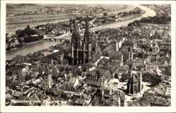 Postcard Regensburg, Fliegeraufnahme, Dom, Stadtpanorama, Häuser