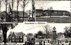Postcard Bargteheide im Kreis Stormarn, Schule, Kirche, Rathaus, Brunnen