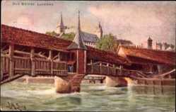 Künstler Ak Lung, L. M., Luzern Stadt Schweiz, Old Bridge, überdachte Brücke