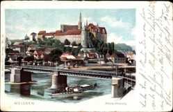 Ansichtskarte / Postkarte Meißen in Sachsen, Partie an der Elbe, Blick auf die Albrechtsburg