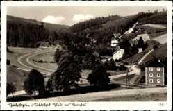 Postcard Bischofsgrün im Fichtelgebirge, Blick ins Maintal, Straße, Häuser