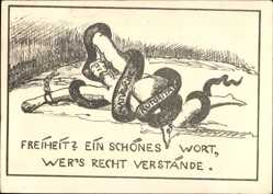 Studentika Ak Ettlingen, Lehrerseminar 1926, Schlange, Allegorie, Abiturienten