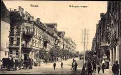 Postcard Vilnius Wilna Litauen, Schopenstraße, Passanten, Gebäude