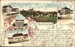 Litho Lommatzsch Sachsen, Rathaus, Amtsgericht, Bahnhof, Totale