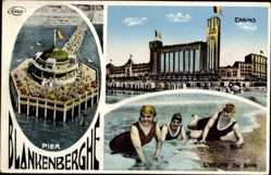 Ak Blankenberghe Westflandern, Casino, l'Heure du Bain, Pier, Strand