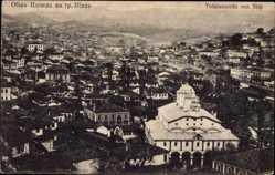 Postcard Štip Mazedonien, Totalansicht der Ortschaft, Kirche