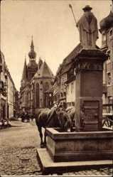 Postcard St. Wendel in Saarland, Blick auf den Dom am Wendelinusbrunnen, Pferde