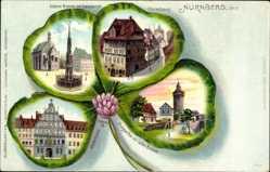 Kleeblatt Litho Nürnberg Mittelfranken, Schöner Brunnen, Dürerhaus, Pellerhaus