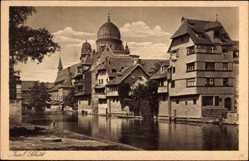 Postcard Nürnberg in Mittelfranken Bayern, Insel Schütt mit Blick auf die Synagoge