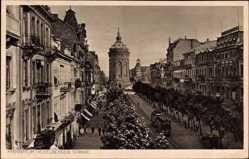 Postcard Mannheim in Baden Württemberg, Heidelberger Straße, Straßenbahn, Wasserturm
