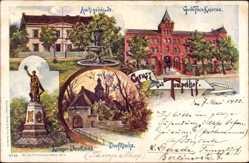 Litho Berlin Tempelhof, Garde Train Kaserne, Kriegerdenkmal, Amtsgebäude