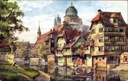 Künstler Ak Sollmann, Nürnberg in Mittelfranken Bayern, Insel Schütt, Synagoge