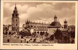 Postcard Kraków Krakau Polen, Marktplatz, Rathaus, Tuchhalle, Adalbert Kirche