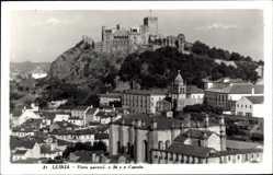 Postcard Leiria Portugal, Vista parcial a Se e o Castelo, Blick auf Ort und Festung