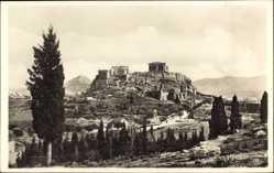 Postcard Athen Griechenland, Blick auf die Akropolis, Berge, Straße, Tempel, Ruinen