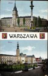 Wappen Ak Warszawa Warschau Polen, Zamek, Ratusz, Rathaus, Platz