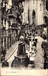 Ak Fuenterrabia Baskenland, Viernes Santo, Mater Dolorosa, Prozession