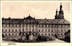 Postcard Bad Staffelstein, Blick auf das Schloss Banz, Auffahrt, Fenster, Treppe