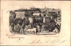 Postcard Luxemburg, Caserne des Volontaires, Kaserne, Festungsmauern