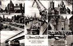 Postcard Neuss in Nordrhein Westfalen, Quirinus Dom, Hafen, Rheinbrücke