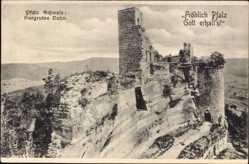 Postcard Dahn im Kreis Südwestpfalz, Teilansicht der Burgruine
