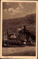 Postcard Miltenberg in Unterfranken Bayern, Häuser, Kirche, Burgblick
