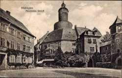 Postcard Büdingen, Blick auf das fürstliche Schloss, Turm, Vorplatz, Büsche