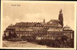 Postcard Bad Staffelstein, Blick auf das Schloss Banz, Türme, Vorplatz, Büsche