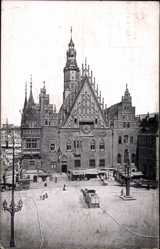 Ak Wrocław Breslau Schlesien, Rathaus, Ring, Rynek, Ratusz