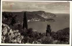 Postcard Korfu Griechenland, Teilansicht der Insel, Kakteen, Meer, Felsen