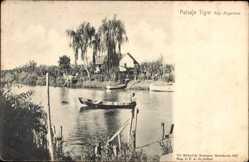 Postcard Paisaje Tigre Argentinien, Mann in einem Boot, Flusspartie, Haus
