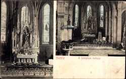Postcard Süttör Ungarn, A templom belseje, Innenansicht der Kirche, Altar, Kanzel