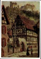 Künstler Ak Schwarz, Rudolf, Weinheim an der Bergstraße Baden, Das Kerwehaus