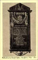 Postcard Frankfurt am Main, Grabdenkmal des Bischofs Steffani, Steintafel am Dom