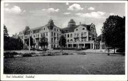 Postcard Bad Salzschlirf in Hessen, Blick auf den Badehof mit Garten