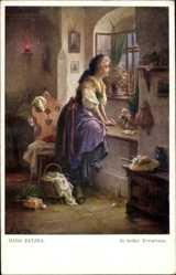 Künstler Ak Zatzka, Hans, In heißer Erwartung, Frau am Fenster