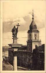 Postcard Warszawa Warschau Polen, Zamek i Kolumna Zygmunta, Denkmal, Straße