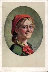 Künstler Ak Kubel, Otto, Portrait einer jungen Frau, Rotes Kopftuch, Haarzopf