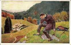 Künstler Ak In einem kühlen Grunde, Wolfahrtspostkarte d. Bahnhofsmission