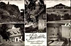 Postcard Parkstein i.d. Oberpfalz, Gasthof Bergstüberl, Basaltkegel mit Kirche