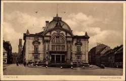 Postcard Fürth in Mittelfranken Bayern, Blick auf den Eingang des Stadttheaters
