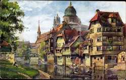 Künstler Ak Nürnberg in Mittelfranken Bayern, Insel Schütt mit Synagoge