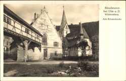 Postcard Blaubeuren Baden Württemberg, Blick auf die alte Klosterkirche, Brücke