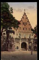 Postcard Amberg in der Oberpfalz Bayern, Blick auf den Eingang des Rathauses