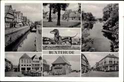Postcard Buxtehude, Stadtansicht Häuserzeile, Stadtansicht, Geschäfte, Dackel