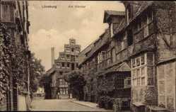 Postcard Lüneburg, Am Werder, Innenstadt, Häuserfassade, Schornstein, Straßenpartie