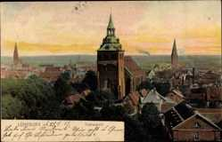 Postcard Lüneburg, Stadtpanorama, Glockentürme, Wald, Häuser, Horizont